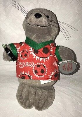 COCA COLA Seal Bean Bag Plush Holding Coke Bottle Red Soccer Ball Shirt NWT 1999 image