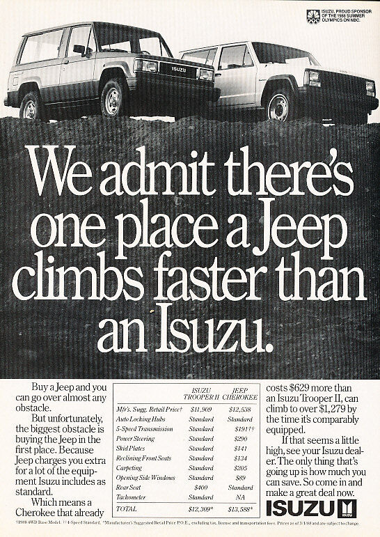 1988 Isuzu Trooper II vs. Jeep Cherokee - Classic Vintage Advertisement Ad A91-B