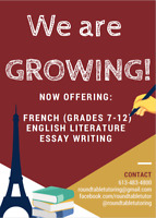 FRENCH Tutoring- August Availability!
