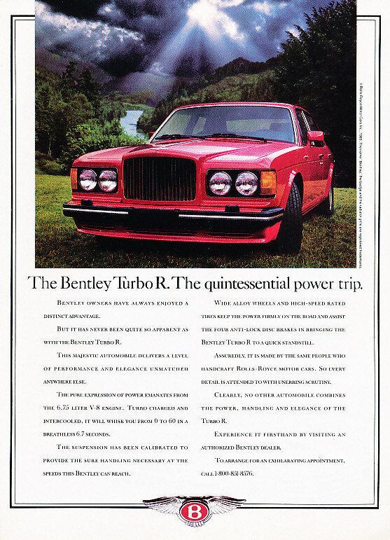 1989 Bentley Turbo R Car Original Classic Advertisement Print Ad A87
