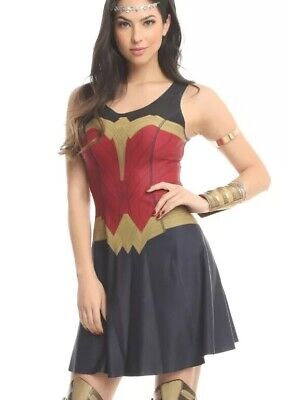Wonder Woman Apparel (DC Comics Wonder Woman Reversible Armor Print Logo Print Dress Size)