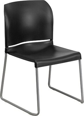 Heavy Duty Sled Base Black Plastic Office Stackable Chair - Waiting Room Chair