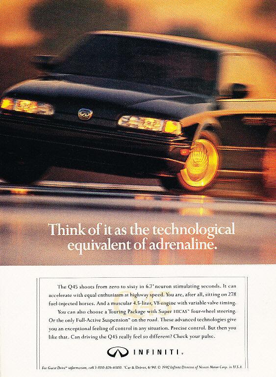 1992 Infiniti Q45 - adrenaline sedan - Classic Vintage Advertisement Ad H09