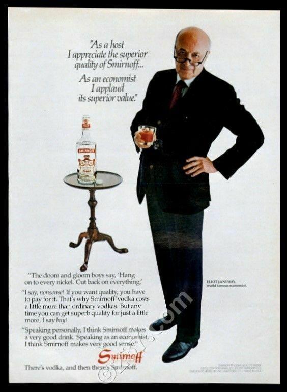 1981 Eliot Janeway photo Smirnoff vodka vintage print ad