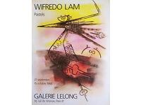 WILFREDO LAM - 'Pastels' - original vintage exhibition poster - c1988 (Galerie Lelong, Paris)
