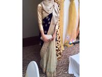 Velvet royal blue and gold saree