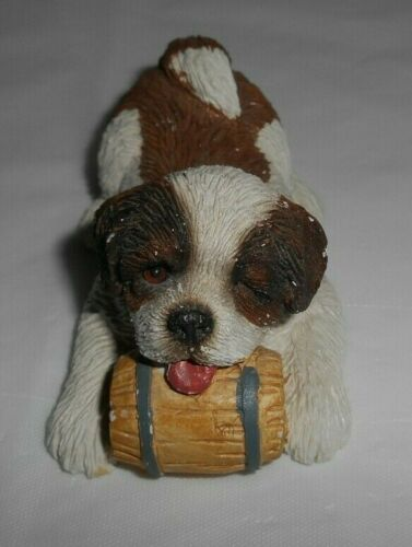 "Small Sandicast ST. BERNARD Dog w/Barrel Figure Sandra Brue Signature 3x2x1.5"""