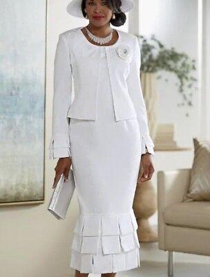 Ashro White Formal Wedding Church Claudette Jacket Dress 10 12 14 16 16W 22W 26W