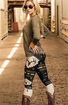 Sexy Women Christmas Camo Print Stretch Trousers Xmas Pants Leggings Fashion US - Camo Christmas