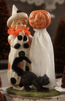 Bethany Lowe Halloween Polka Dots Child with Black Cat & Ghost-Retired