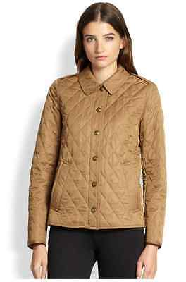 $595+ BURBERRY BRIT Women Tillbrooke Quilted Jacket Diamond Quilt Dark Camel XS