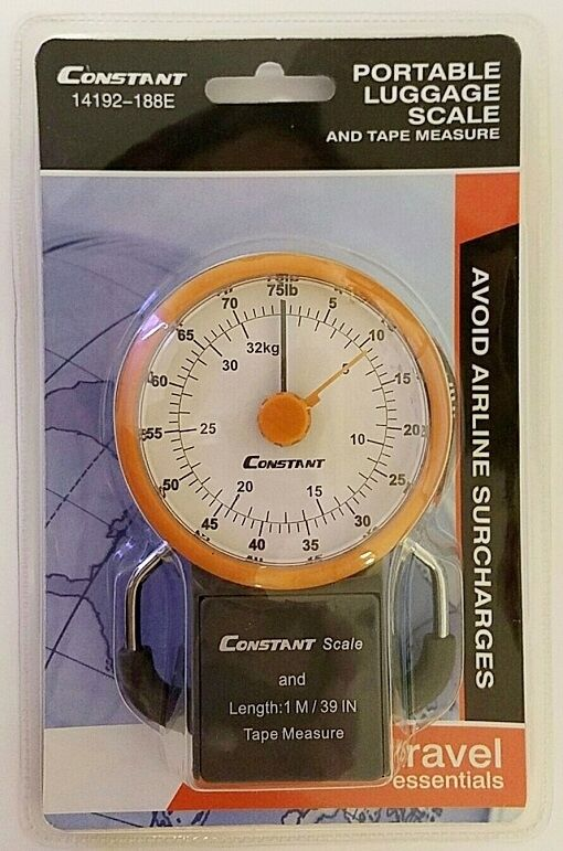 """Suitcase Portable Luggage Scale & 39"""" Tape Measure 75LB Hanging Travel Weight"""
