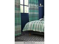 "next teal check blackout curtains 72"" length, brand new in packet antrim"