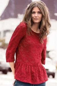 Zara Red Lace Peplum Blouse 57