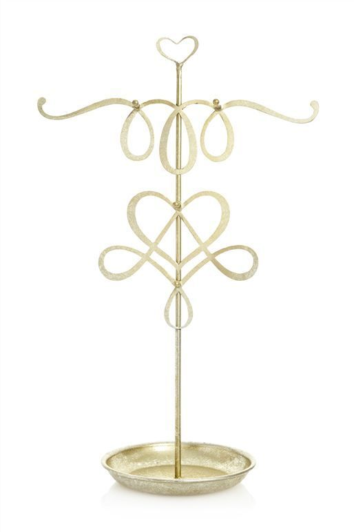 Next Jewellery Display Holder Tree Stand Gold Metal