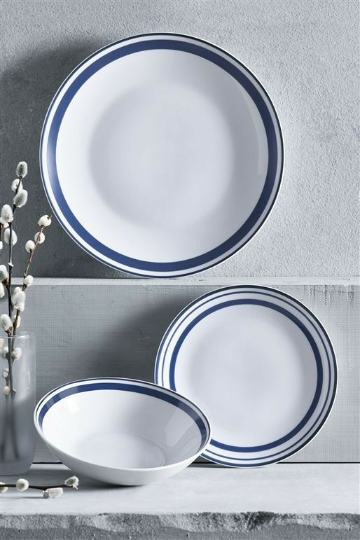 BNIB Next complete set of Simple 12 piece dinner set Blue Band Porcelain - & BNIB Next complete set of Simple 12 piece dinner set Blue Band ...
