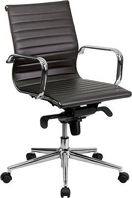 Brown Leather Mid Back Office Chair With Polished Aluminum Base And Arms