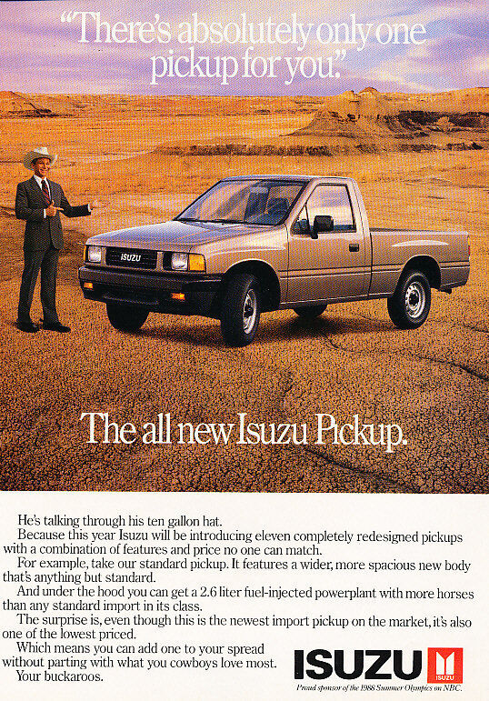 1988 Isuzu Pickup Truck - Gallon - Classic Vintage Advertisement Ad D61