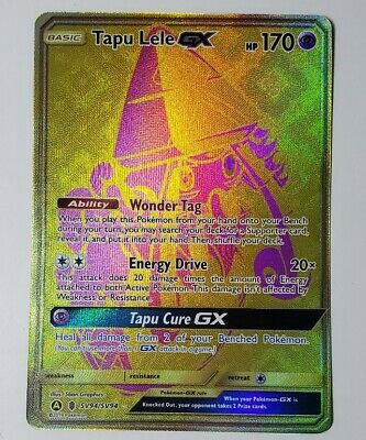 Pokemon Hidden Fates Card Tapu Lele GX SV94/SV94 Gold Card Mint