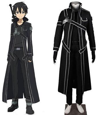 Anime Sword Art Online Kirito Kirigaya Kazuto Mantel Coat T-Shirt Cosplay (Sword Art Online Kazuto Kirigaya Cosplay Kostüm)