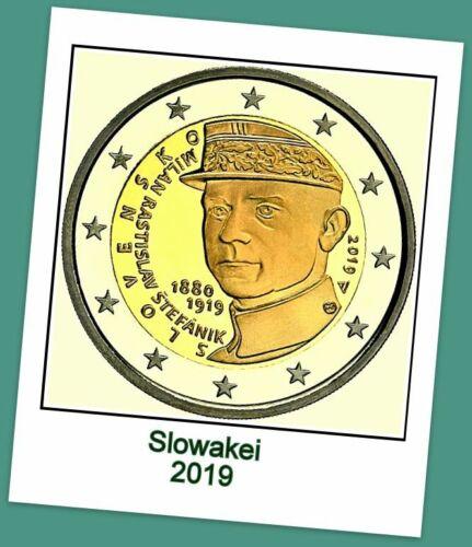 2 Euro Gedenkmünze Slowakei 2019 - 100. Todestag M. Rastislav Stefanik lieferbar