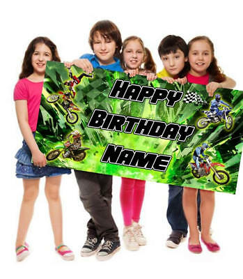 Dirt Bike Motocross Personalized/Customized Birthday Banner