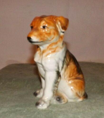 Vintage Ceramic collie dog figurine large puppy Japan glossy sable