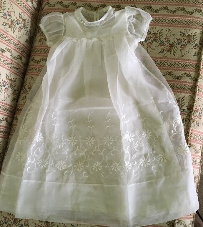 GORGEOUS Sheer Embroidered Christening Gown W/Satin Under-dress