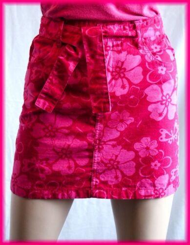 "Girl's Bright Pink Cotton Floral Mini Skirt (14/16) 25"" waist (XS Women)"