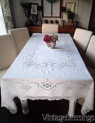 """Gorgeous Antique Point de Venise Lace & Linen Tablecloth 83"""" 67"""" Bridal Table"""