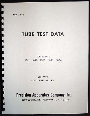 Precision Tube Test Data For 10-12 10-15 10-20 10-22 10-54 Tube Testers