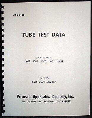 Precision Tube Test Data For 10-12 10-15 10-20 10-22 10-54 Tube Testers