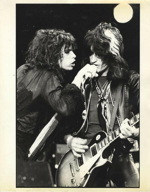 Aerosmith Steven Tyler Joe Perry Reading Concert Vintage Stamped Oversized Photo