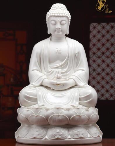 "16"" Tibet Buddhism Dehua Porcelain Shakyamuni Amitabha Sakyamuni Buddha Statue"