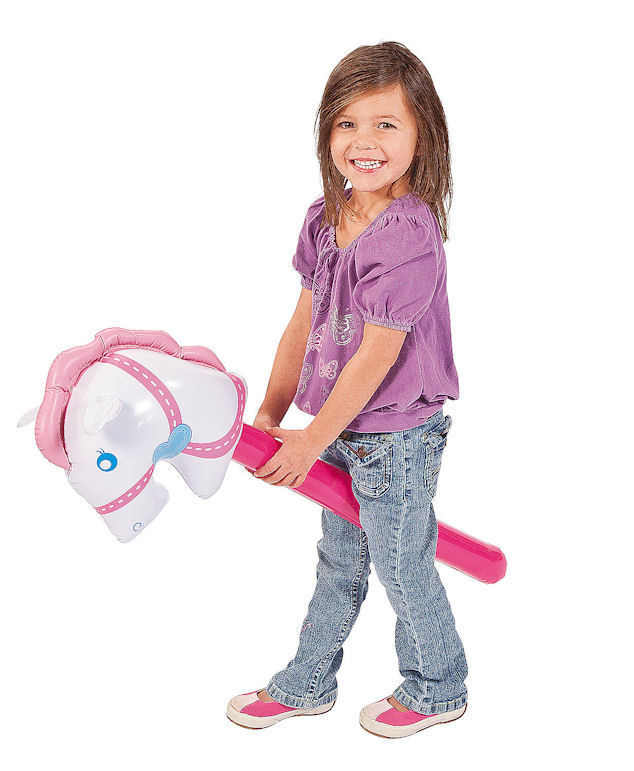 Inflatable Cowgirl Stick Horse Rodeo Girl