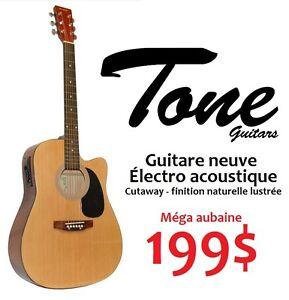 Guitare électro acoustique Neuve TONE pleine grandeur cutaway