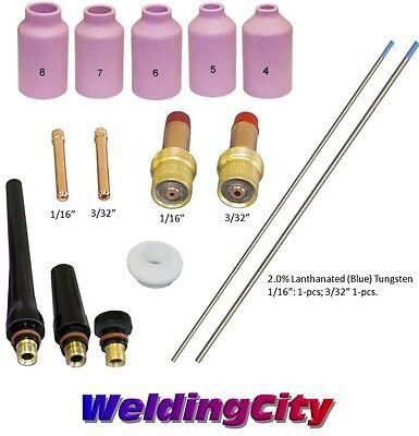 Tig Welding Torch 171826 Kit 116-332 Gas Lens Tungsten Blue T53b Us Seller