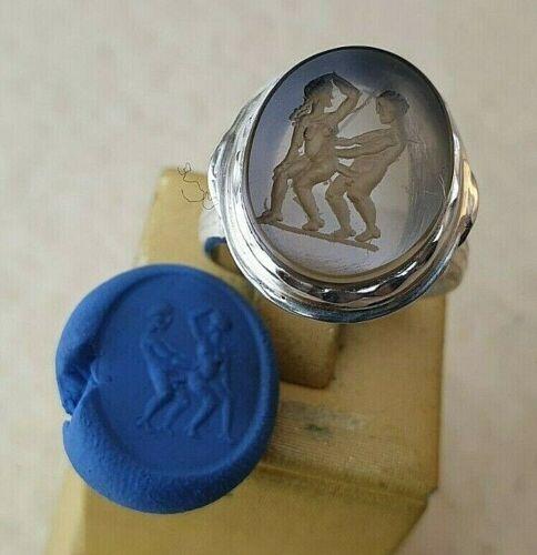 Erotic Intaglio natural smoky topaz Ancient Silver 950 Vintage-Antique ROMAN