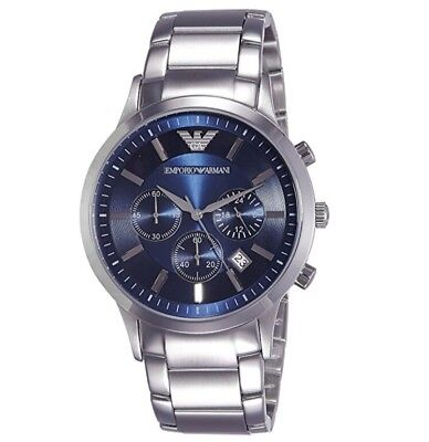 *NEW* MENS EMPORIO ARMANI STEEL CHRONOGRAPH BLUE WATCH - AR2448 - RRP £299.00