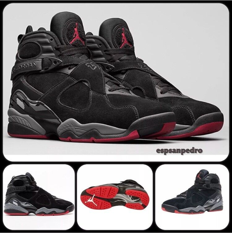 best cheap f5dae ac168 NIKE AIR JORDAN 8 RETRO UK8 BLACK GYM RED-WOLFGREY BRAND NEW NEVER WORN