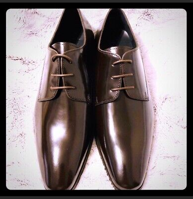 Versace Collection Brown Lace Up Loafers Dress Shoes