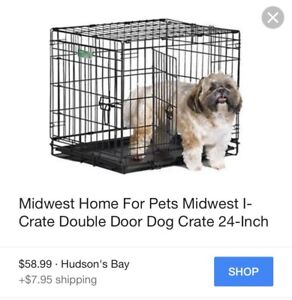 Dog crate for small dogs with dual doors, foldable