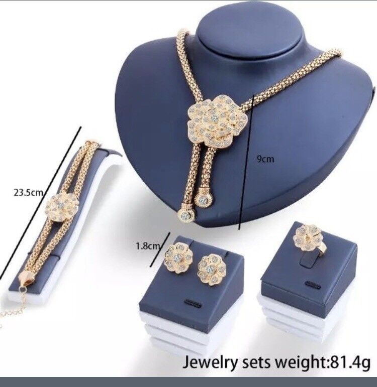 GoldPlated Flower crystal jewellery sets
