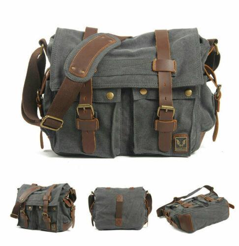 "Men's  Messenger Bag Military Canvas Leather Satchel School 14"" Laptop Shoulder"