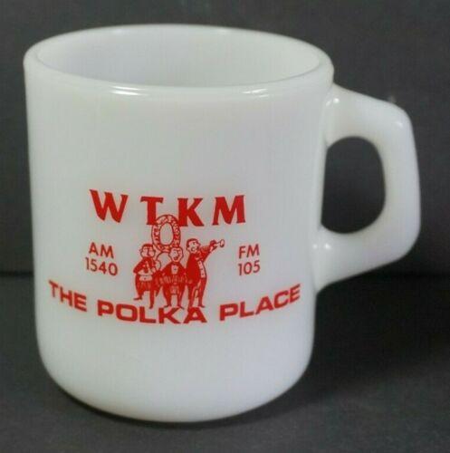 VTG Galaxy White Milk Glass Coffee Cup Mug WTKM Polka Place Radio Station FM105