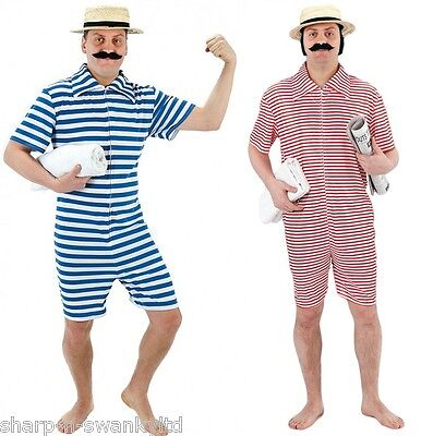 1920s Male Outfit (Mens 1920s Red or Blue Bathing Swimming Beach Suit Fancy Dress Costume)