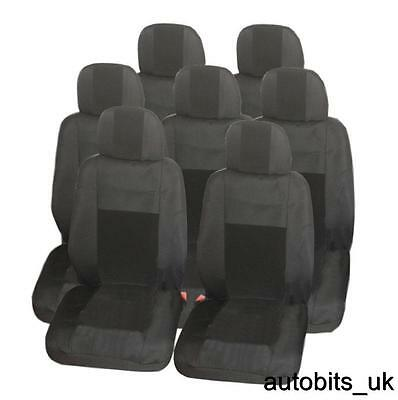FULL SET PREMIUM BLACK 7X FABRIC SEAT COVERS FOR 7 SEATER VAN SUV BUS (1998 Mazda Mpv Van)