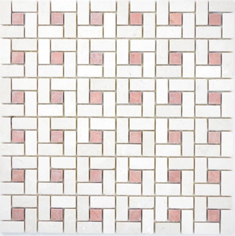Marmor Mosaik Rad Stein cremarfil pink rose poliert Wand Boden 88-B17/_f 10Matten
