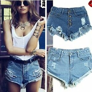 Hot-Ladies-Womens-Denim-Hotpants-Vintage-Cut-Off-High-Waisted-Denim-Shorts-8-14