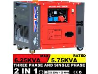 BRAND NEW PROGEN DIESEL GENERATOR 220V 50Hz 6.5 kVA SUPER SILENT WITH ELECTRIC START